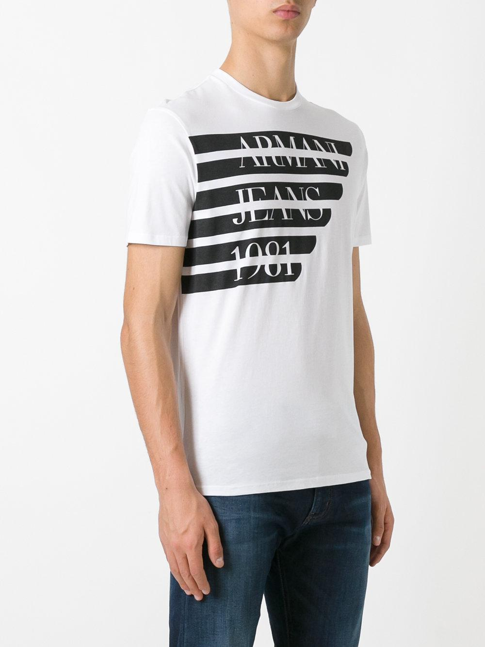 Lyst Armani Jeans Printed Logo T Shirt In White For Men