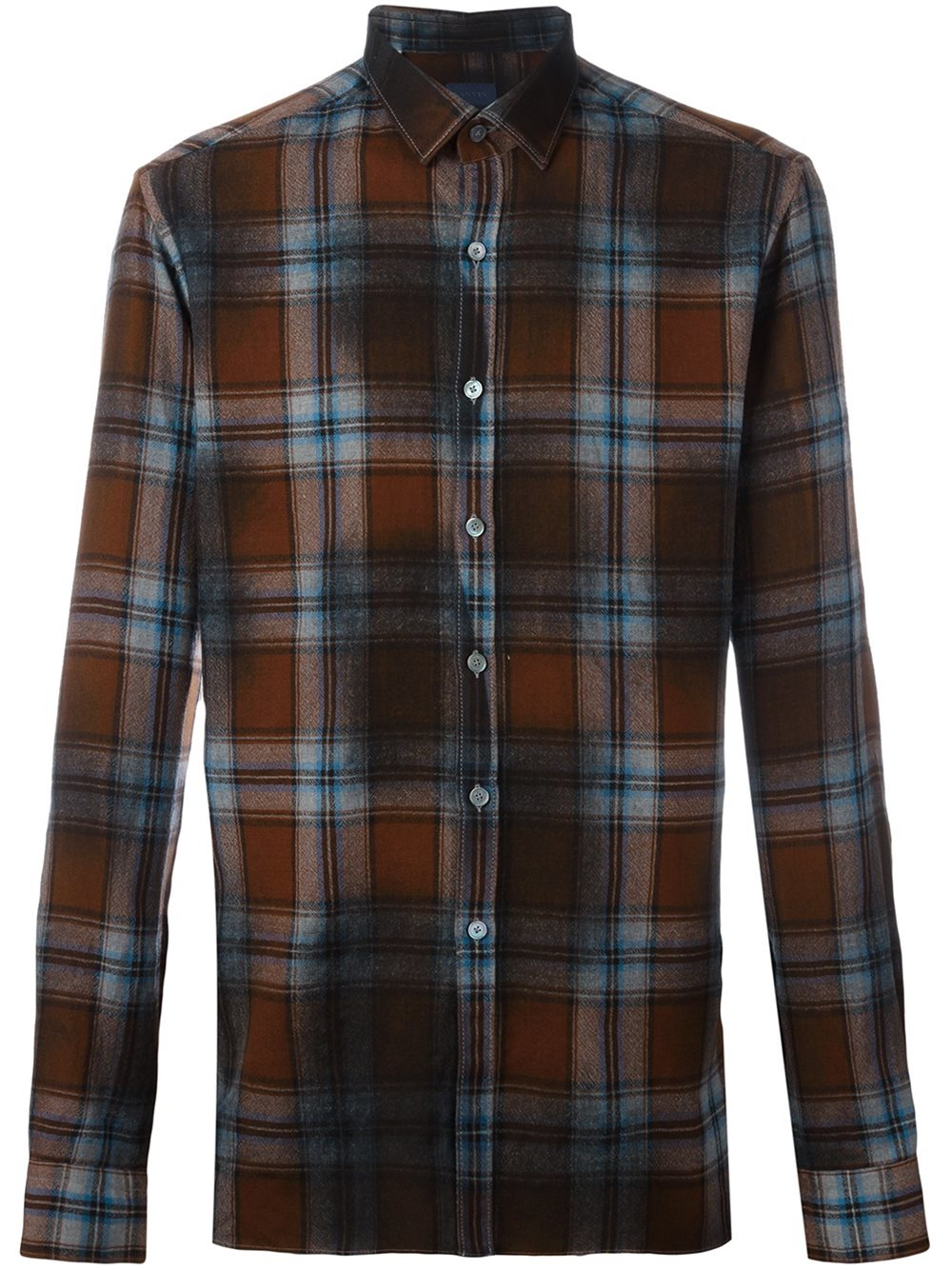 lanvin checked flannel shirt in brown for men lyst