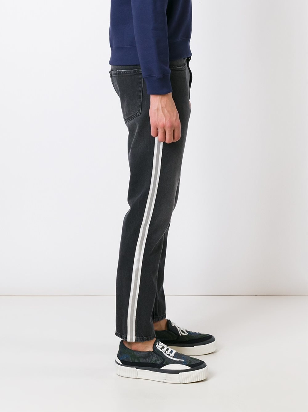 Msgm Side Stripe Jeans In Gray For Men Lyst