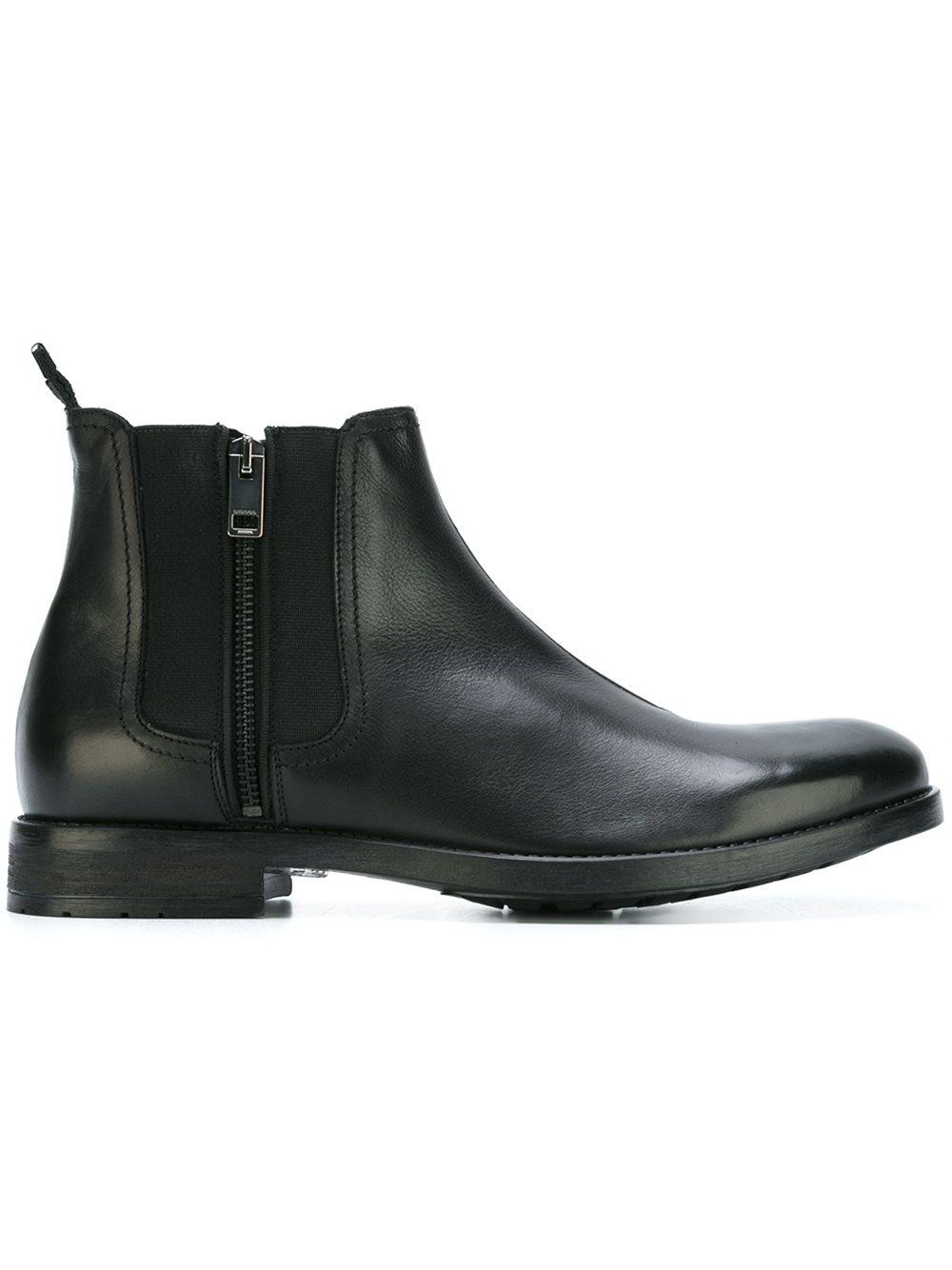 Diesel Side Zip Boots In Black For Men Lyst