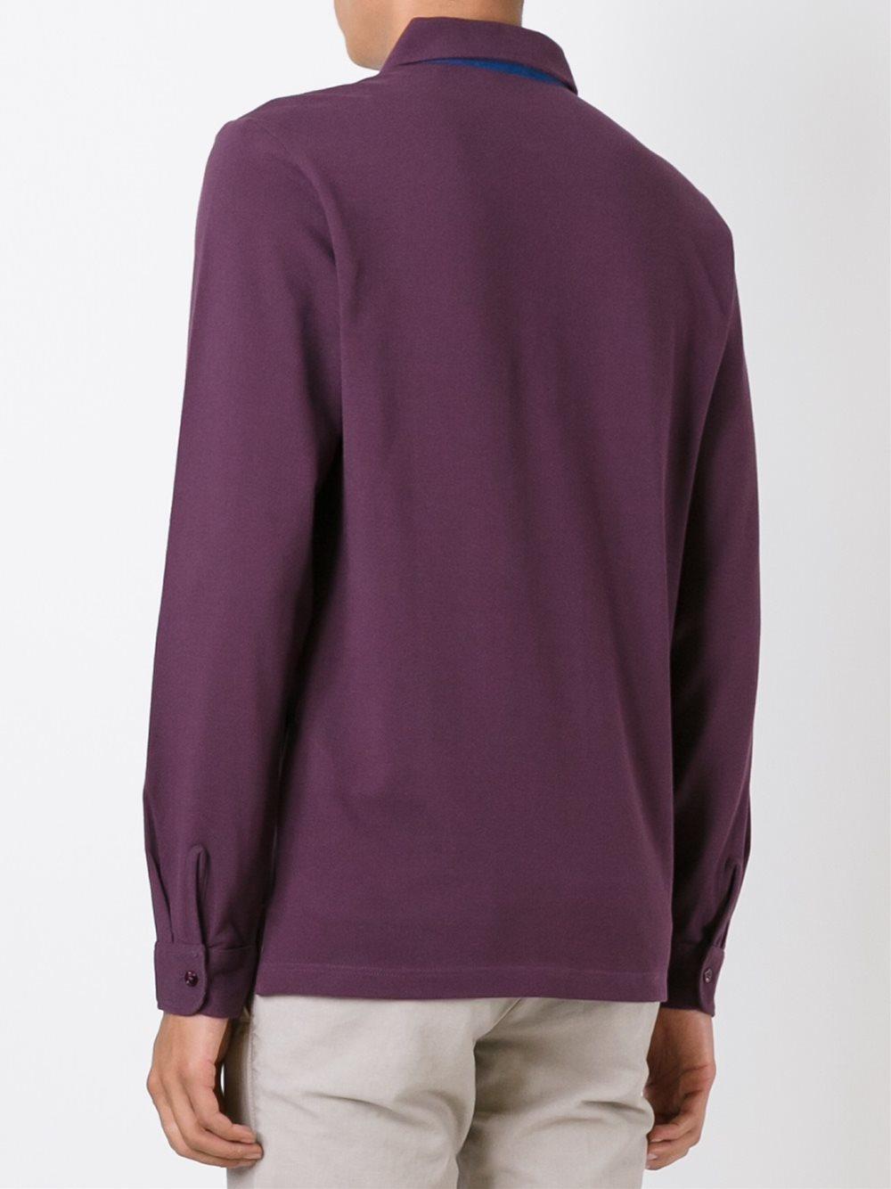 Lyst etro long sleeve polo shirt for men for Long sleeve purple polo shirt