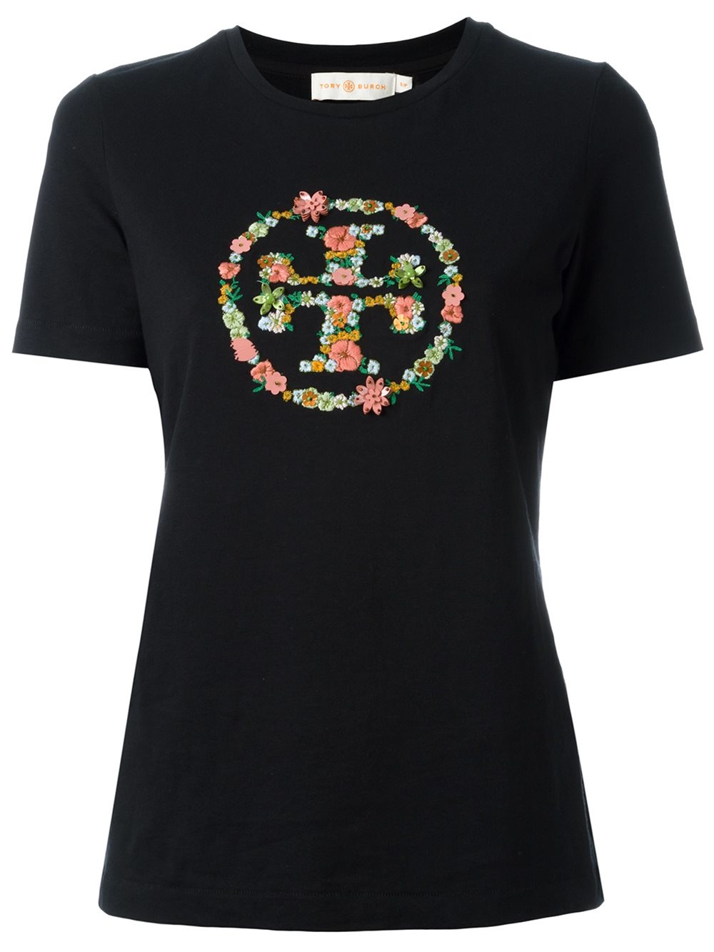 Tory burch embroidered logo t shirt in black lyst for T shirt with embroidered logo