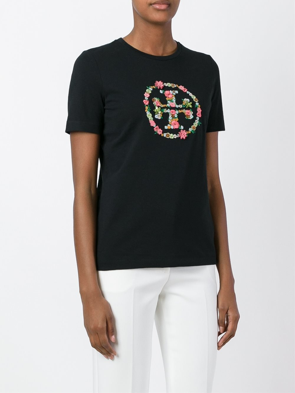tory burch embroidered logo t shirt in black lyst