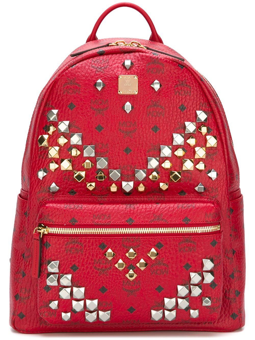 Lyst Mcm Studded Backpack In Red