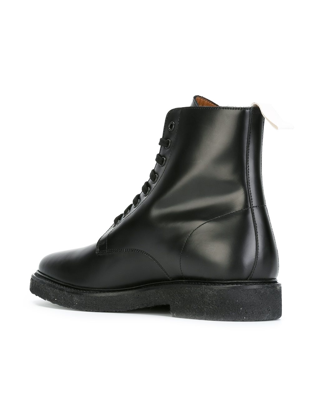 Common Projects Ankle Length Tie Up Boots In Black For Men