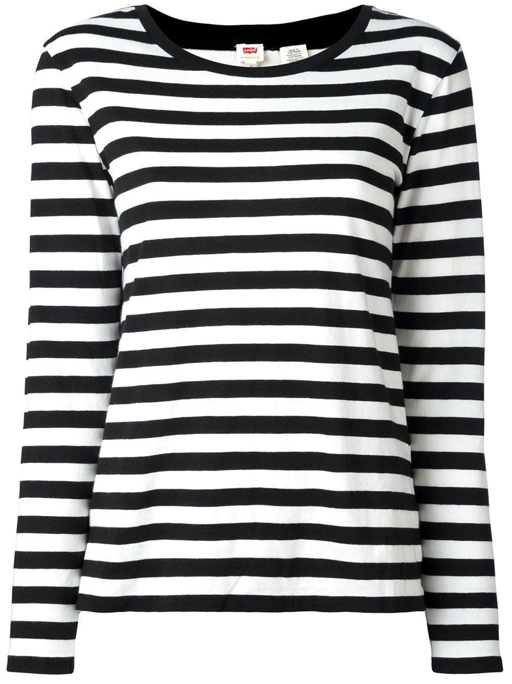 levi 39 s levis striped cotton blend jumper in black lyst. Black Bedroom Furniture Sets. Home Design Ideas