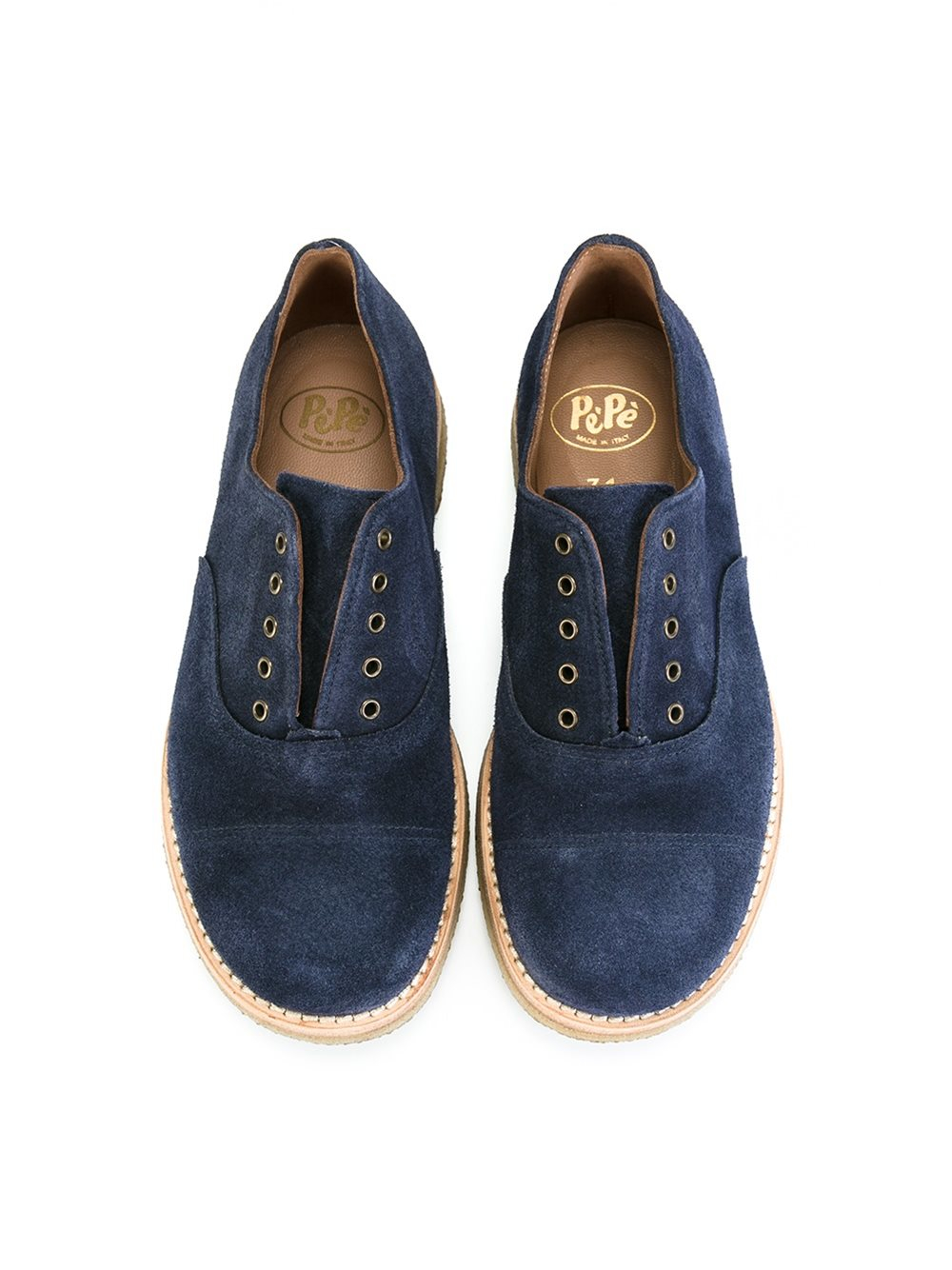 lyst pepe laceless oxford shoes in blue for