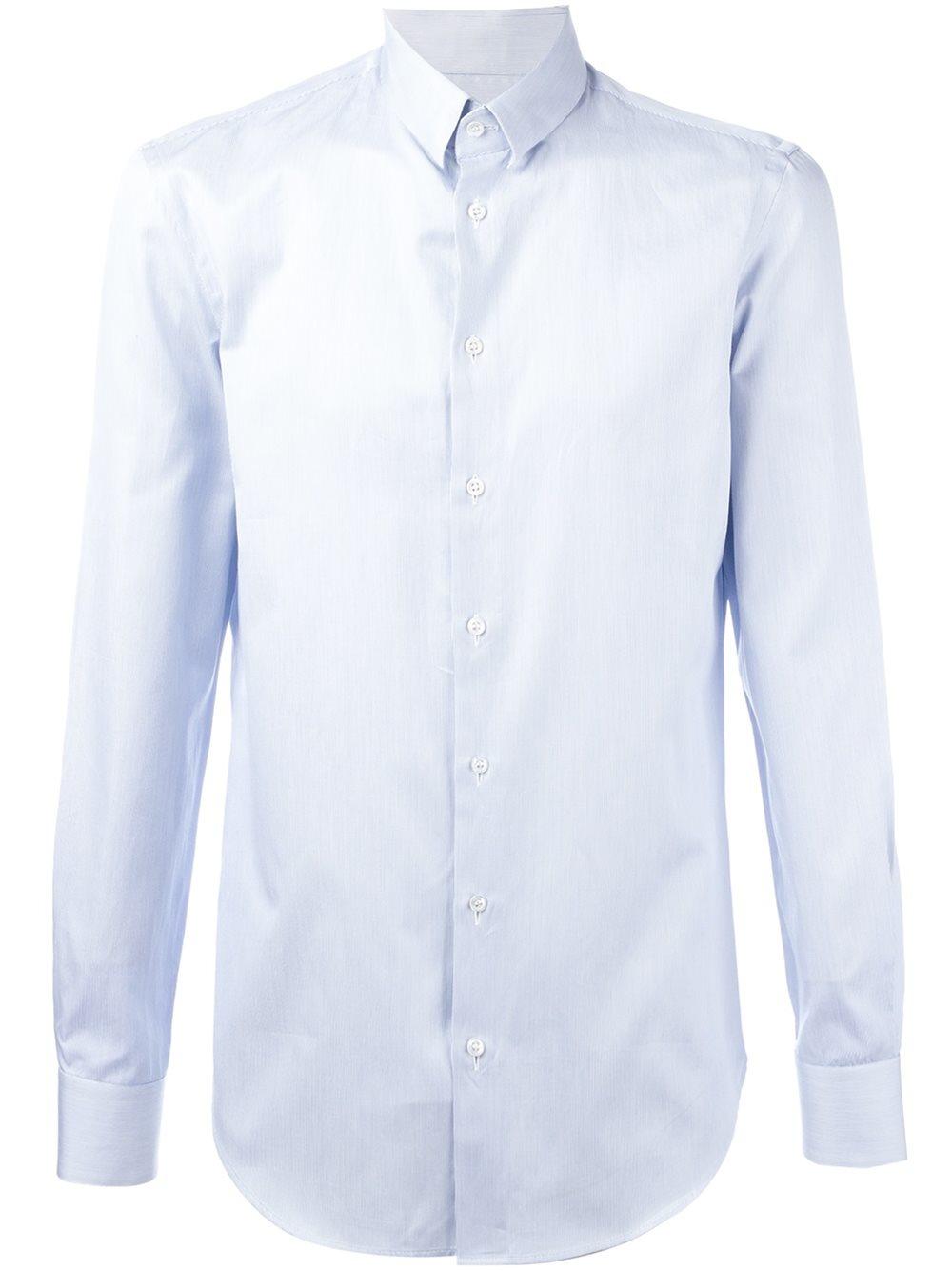Giorgio armani striped button down shirt in blue for men for Striped button down shirts for men