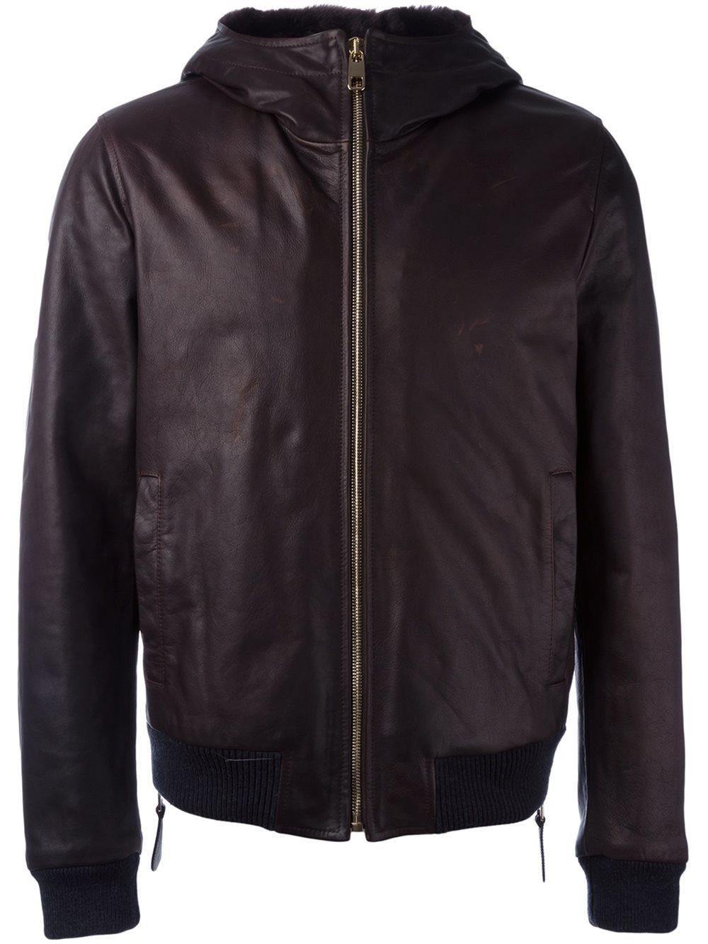 dolce gabbana hooded leather jacket in brown for men lyst. Black Bedroom Furniture Sets. Home Design Ideas