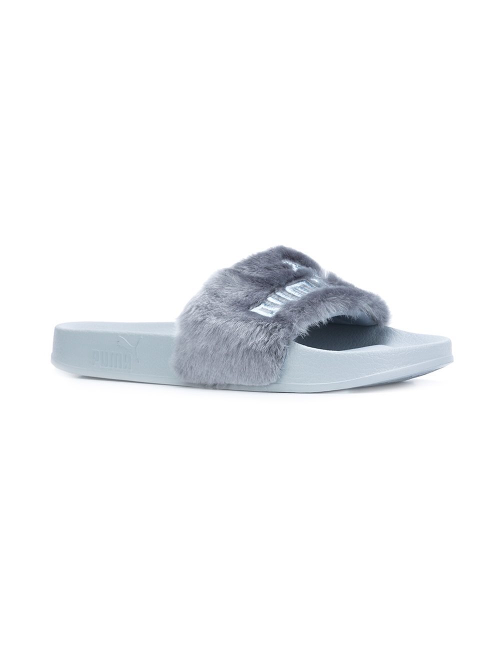 Puma Fur Slide Sandals In Gray Lyst