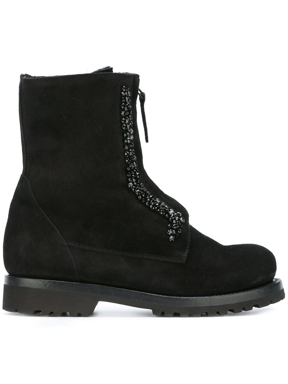 ermanno scervino lace up leather and suede ankle boots in