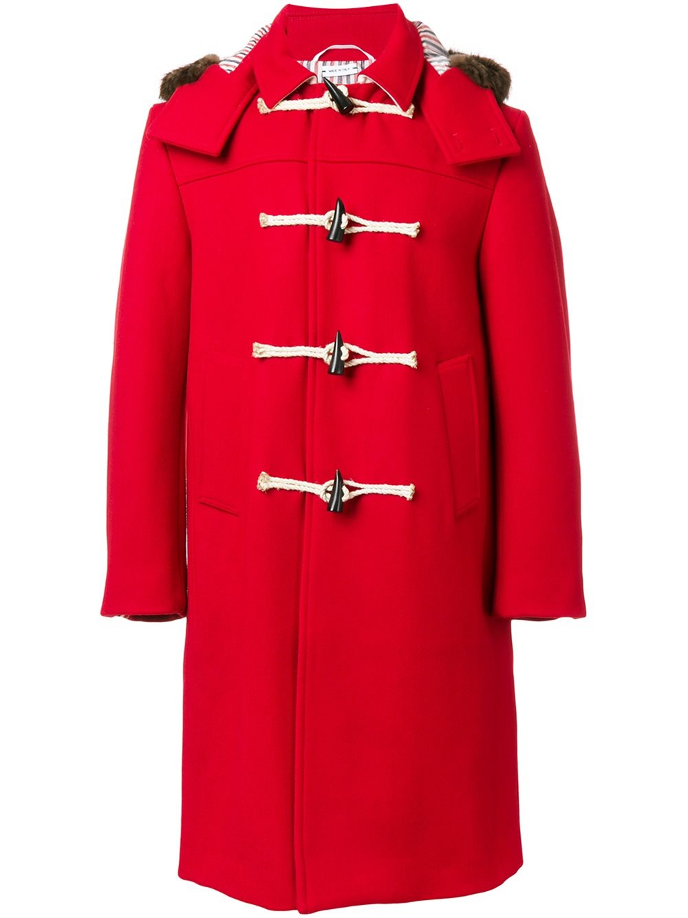lyst thom browne hooded duffle coat in red for men. Black Bedroom Furniture Sets. Home Design Ideas