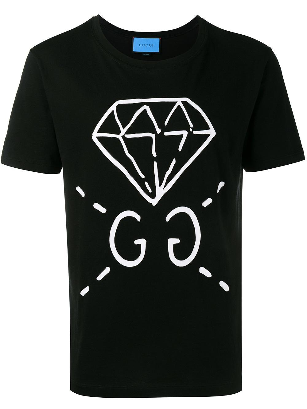 Lyst Gucci Diamond Print T Shirt In Black For Men