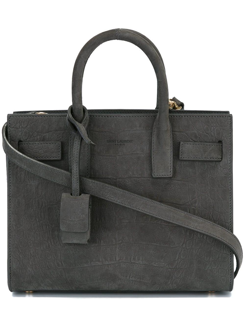 saint laurent nano 39 sac de jour 39 tote bag in grey grey lyst. Black Bedroom Furniture Sets. Home Design Ideas