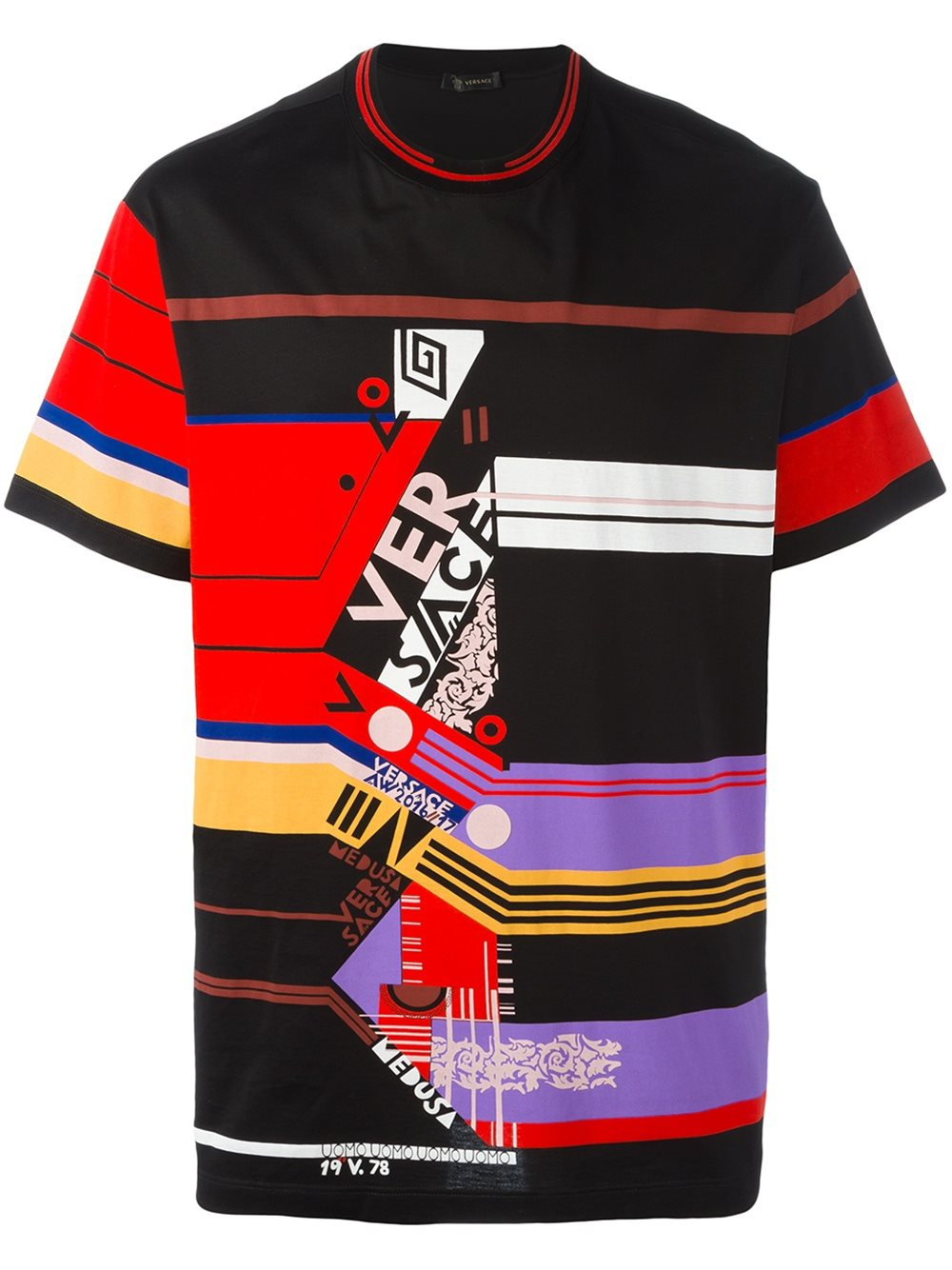 versace abstract stripe t shirt in black for men lyst. Black Bedroom Furniture Sets. Home Design Ideas