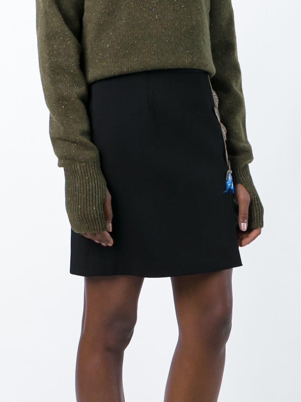 Lyst christopher kane embroidered rose mini skirt in black