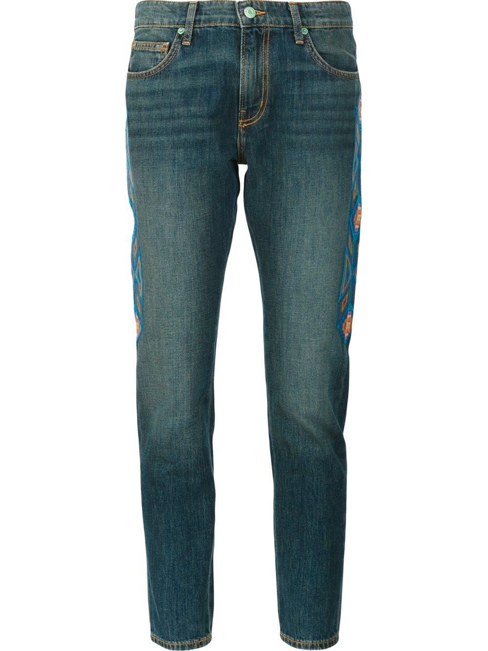 Sandrine rose embroidered skinny boyfriend jeans in blue