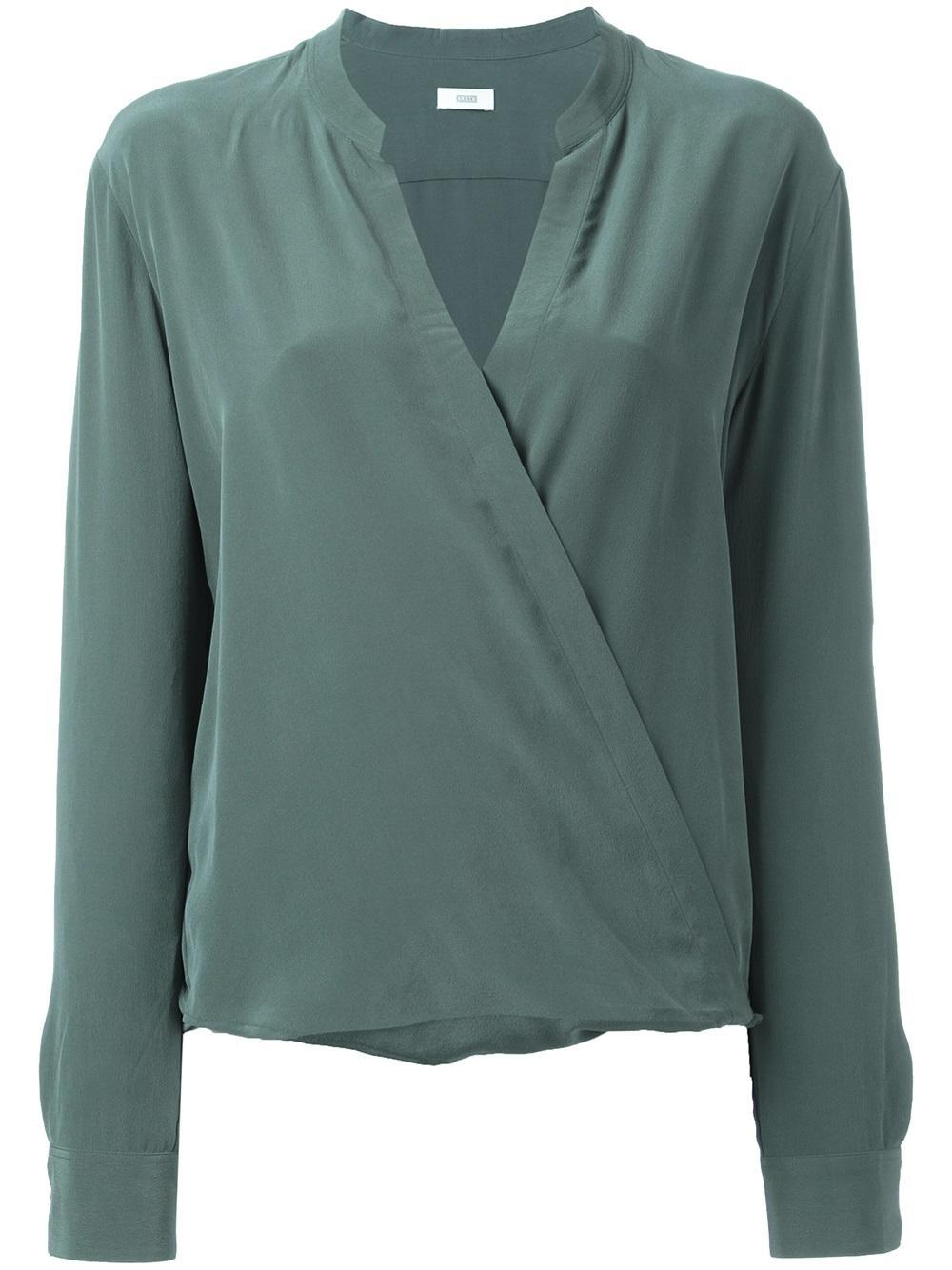 Lyst closed wrap style blouse in green for Wrap style t shirts
