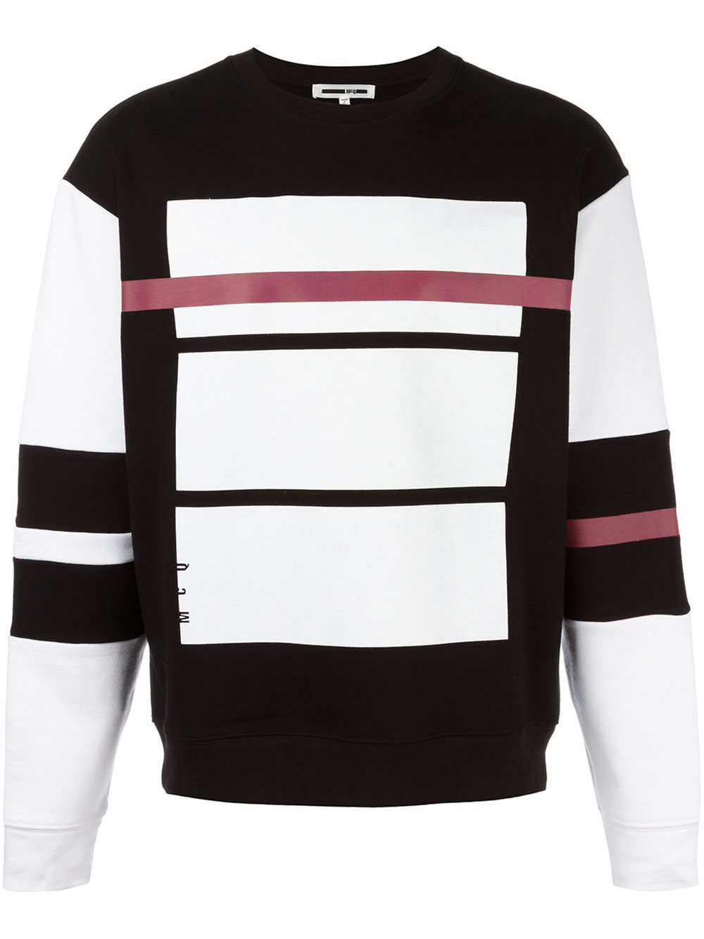 mcq alexander mcqueen red line print sweatshirt in black