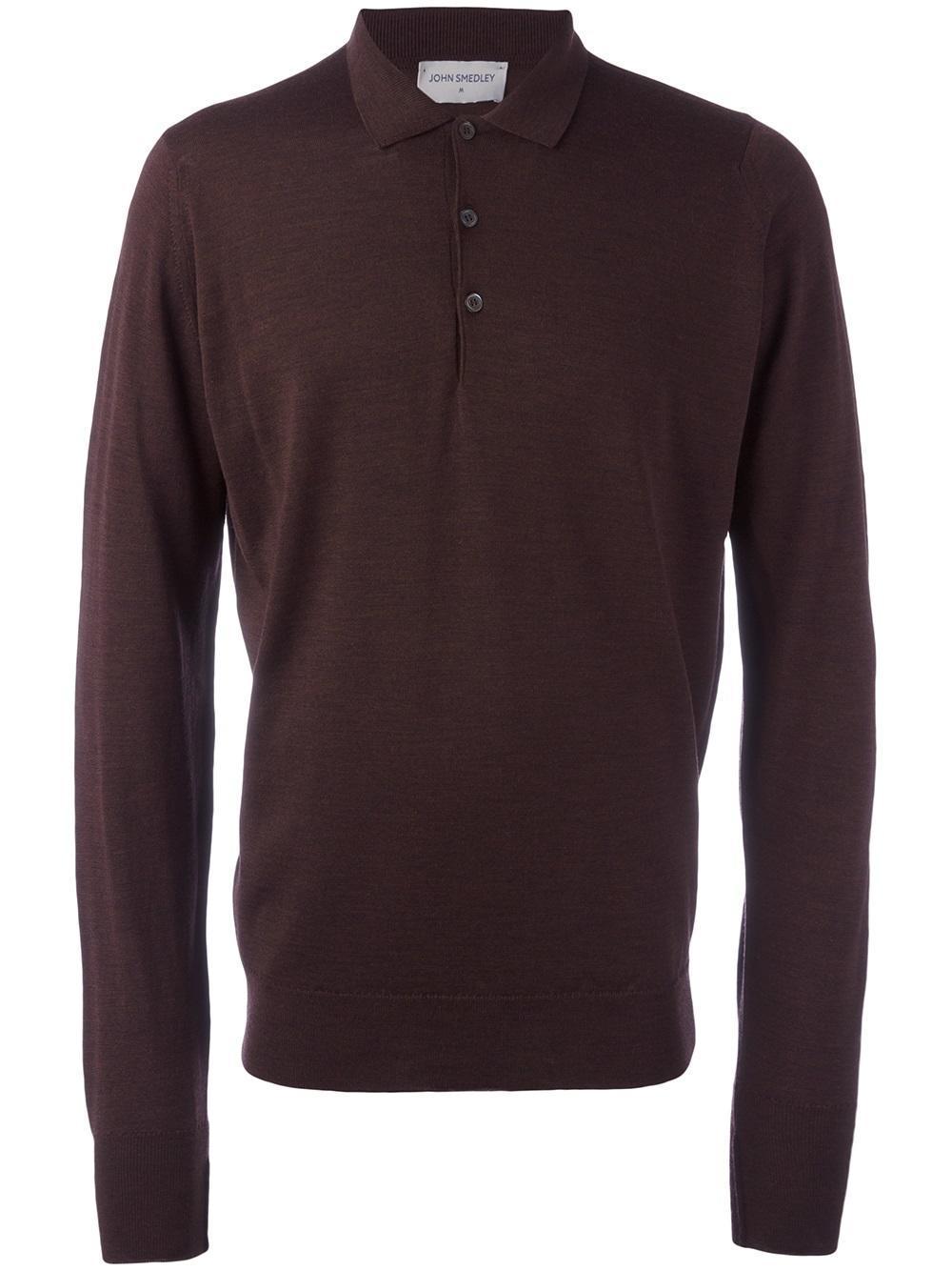 John Smedley Longsleeved Polo Shirt In Brown For Men Lyst
