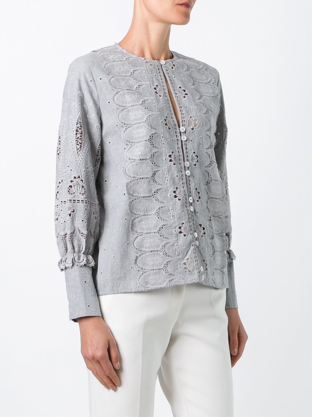sea broderie anglaise blouse in gray lyst. Black Bedroom Furniture Sets. Home Design Ideas