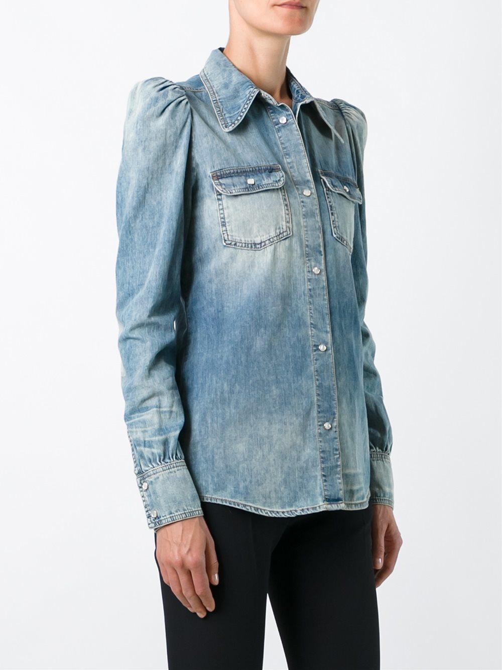 Lyst Roberto Cavalli Puff Sleeve Denim Shirt In Blue