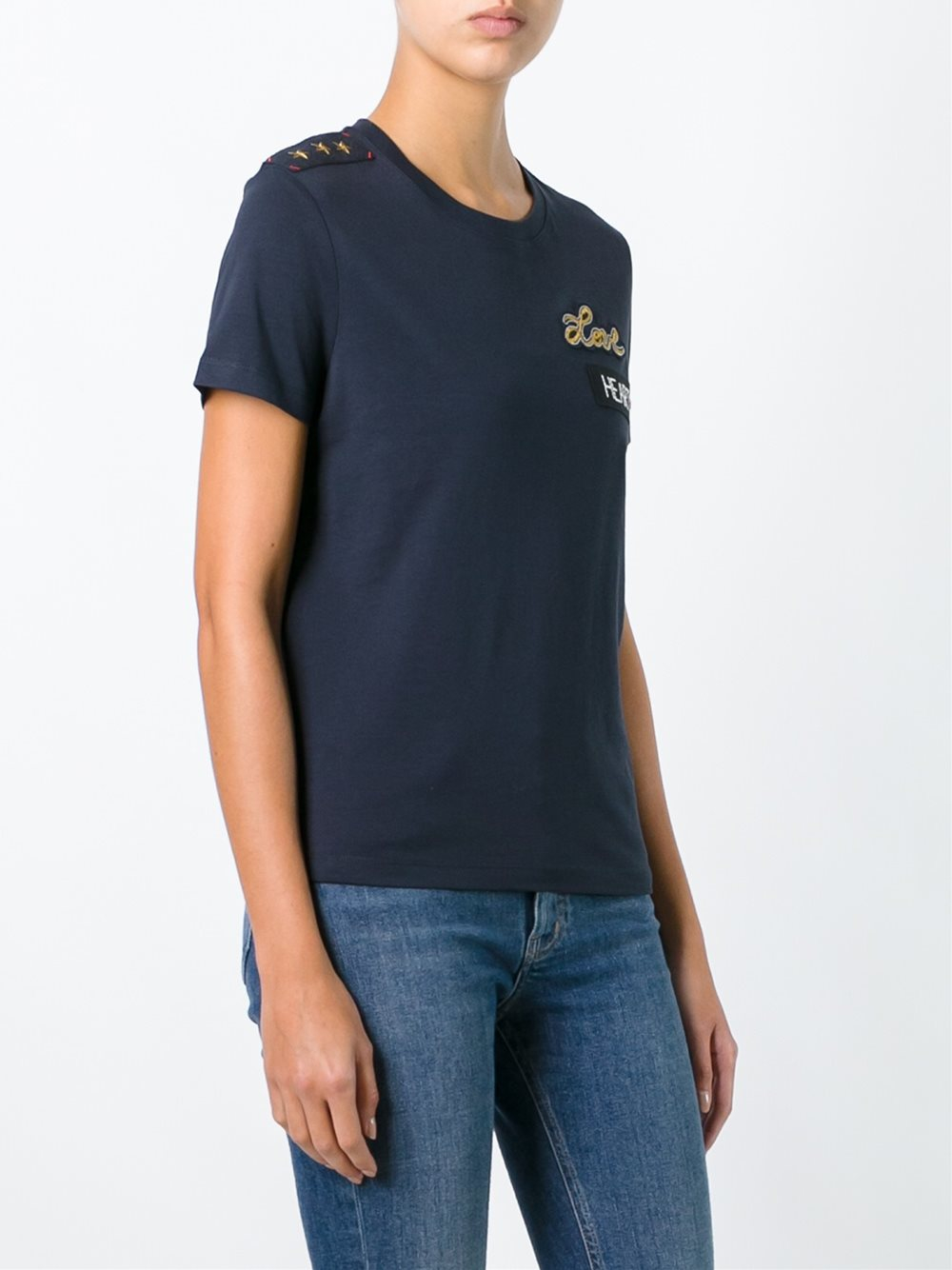 Red valentino 39 love 39 t shirt in blue lyst for Red valentino t shirt