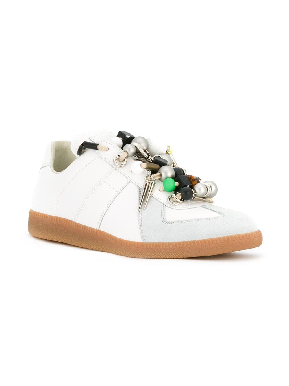 Lyst - Maison Margiela Replica Beaded Leather Sneakers in White