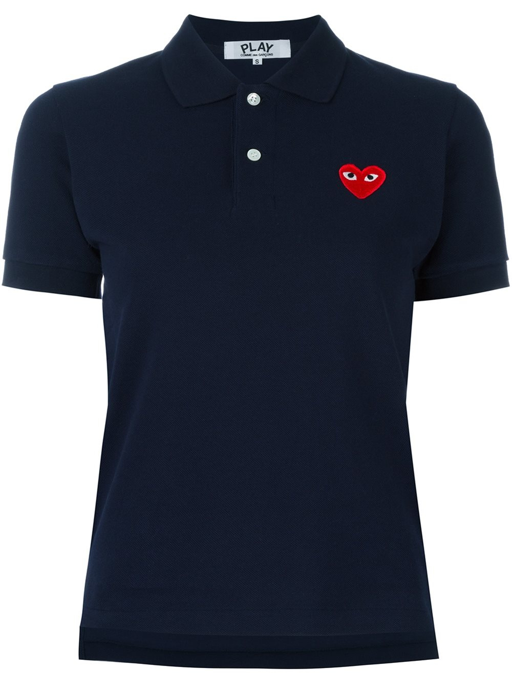 play comme des gar ons logo patch polo shirt in blue lyst. Black Bedroom Furniture Sets. Home Design Ideas