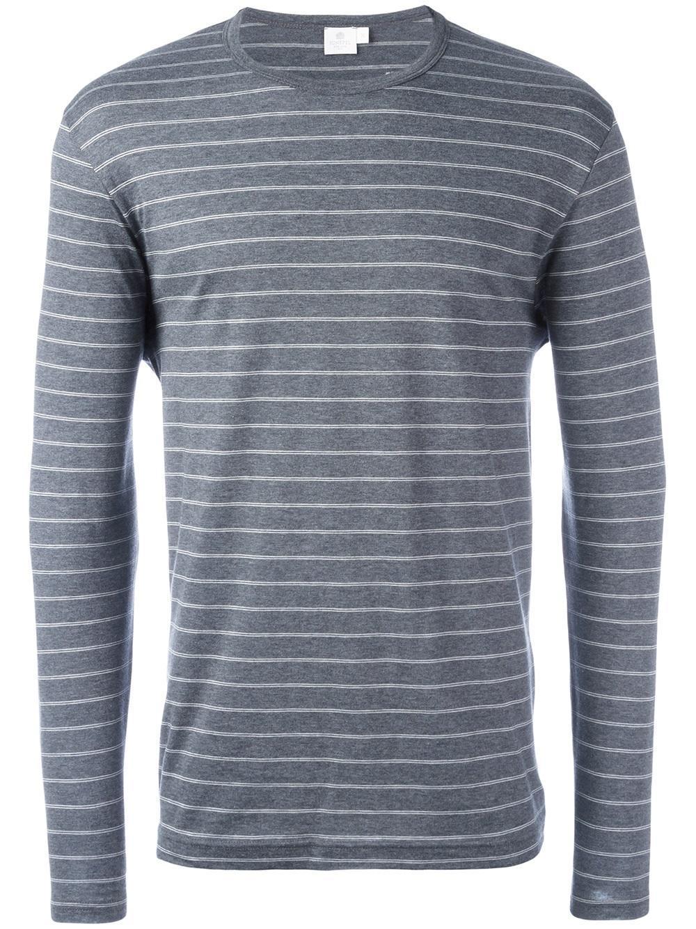 Sunspel striped t shirt in gray for men lyst Grey striped t shirt
