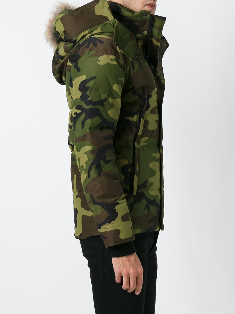 Canada Goose Camouflage Print Padded Jacket In Green For