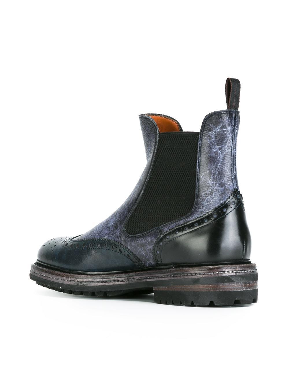 Lyst Santoni Chelsea Boots In Blue For Men