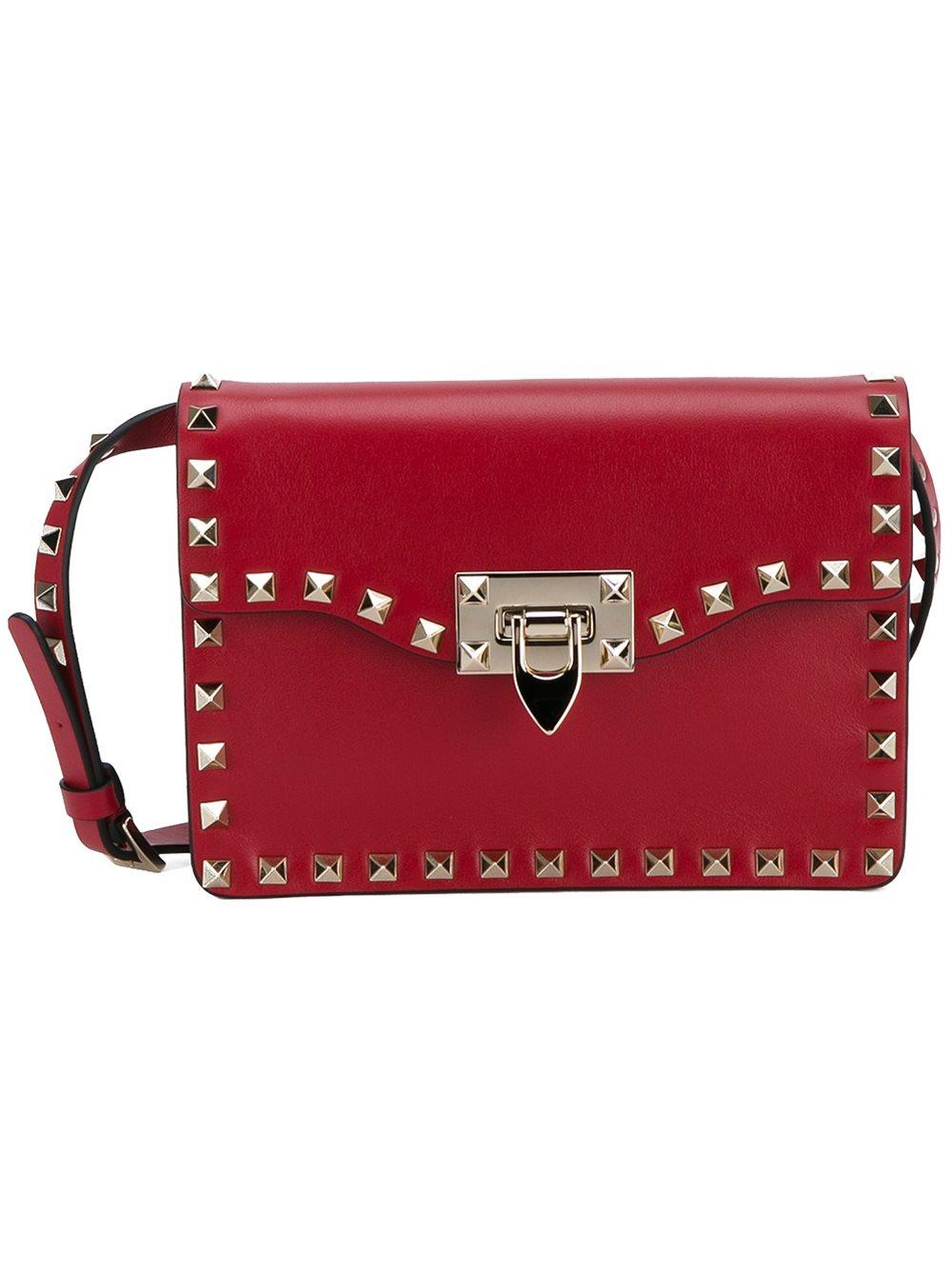 valentino rockstud leather shoulder bag in red lyst. Black Bedroom Furniture Sets. Home Design Ideas