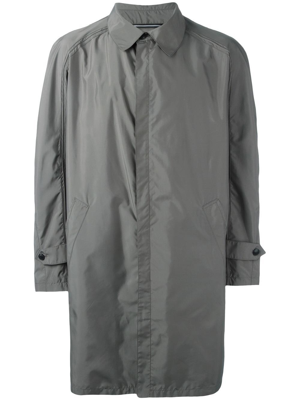 Lyst Armani Concealed Fastening Raincoat In Gray For Men