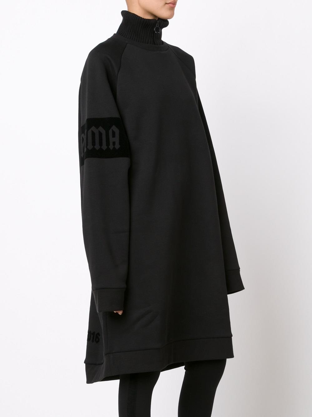 puma fenty x rihanna oversize neck zip pullover in black lyst. Black Bedroom Furniture Sets. Home Design Ideas