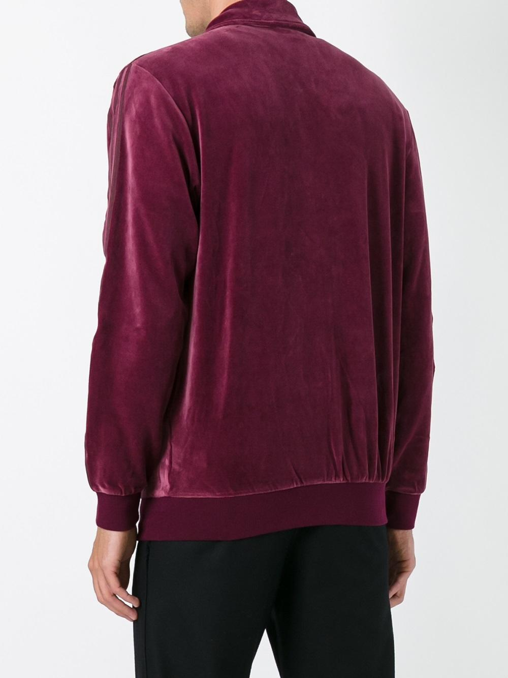 adidas originals 39 beckenbauer 39 velour track jacket in red. Black Bedroom Furniture Sets. Home Design Ideas