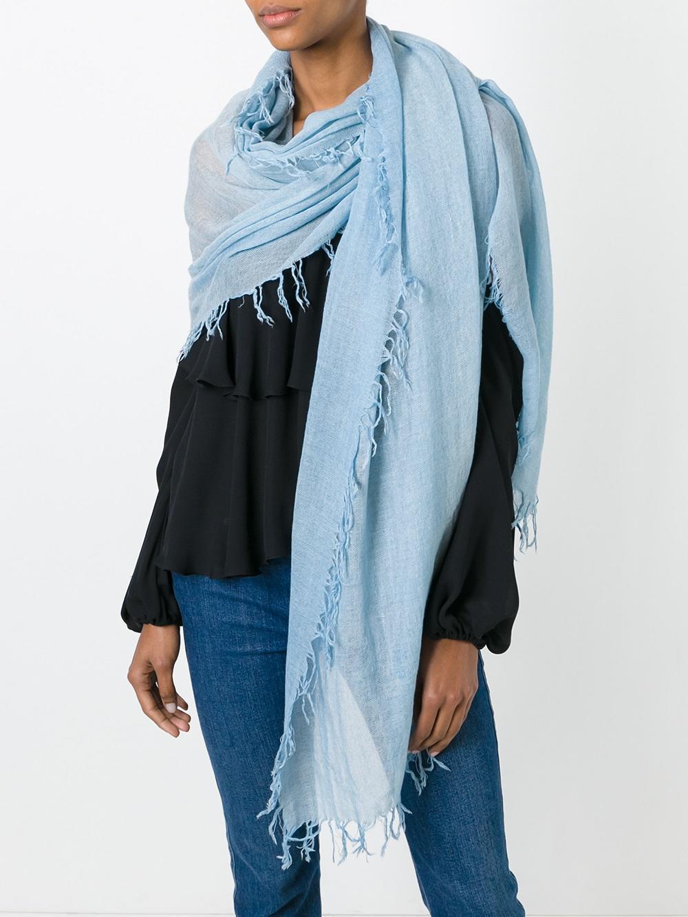 dorothee schumacher frayed scarf in blue lyst. Black Bedroom Furniture Sets. Home Design Ideas
