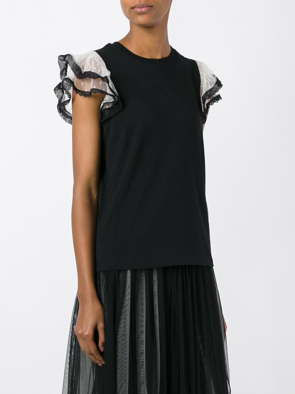 Lyst red valentino ruffle sleeve t shirt in black for Frill sleeve t shirt