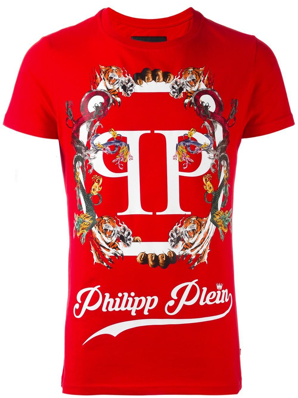 lyst philipp plein pleins t shirt in red for men. Black Bedroom Furniture Sets. Home Design Ideas