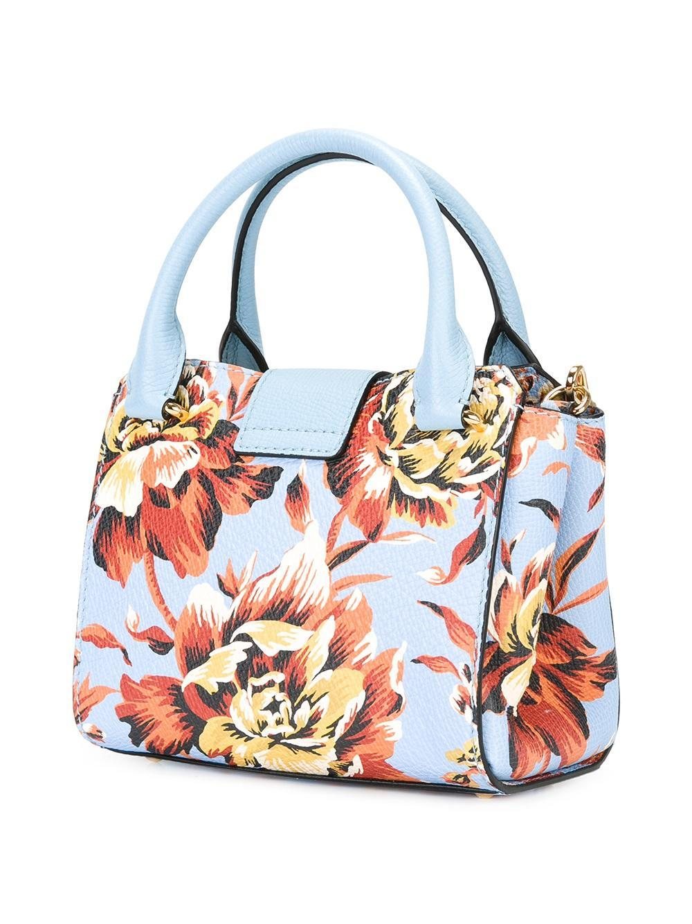 Burberry Floral-print Tote Bag In Blue | Lyst