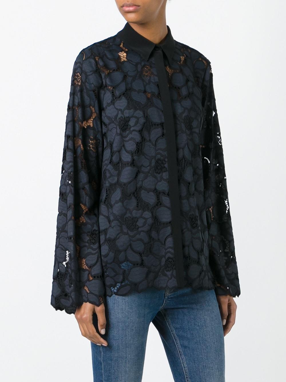 lyst dorothee schumacher laced shirt in blue. Black Bedroom Furniture Sets. Home Design Ideas