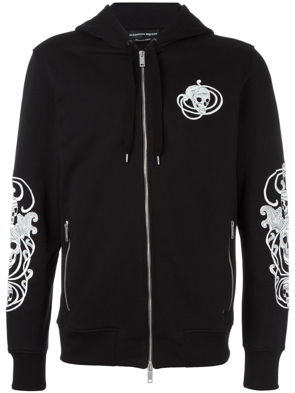 alexander mcqueen skull embroidered hoodie in black for men lyst. Black Bedroom Furniture Sets. Home Design Ideas
