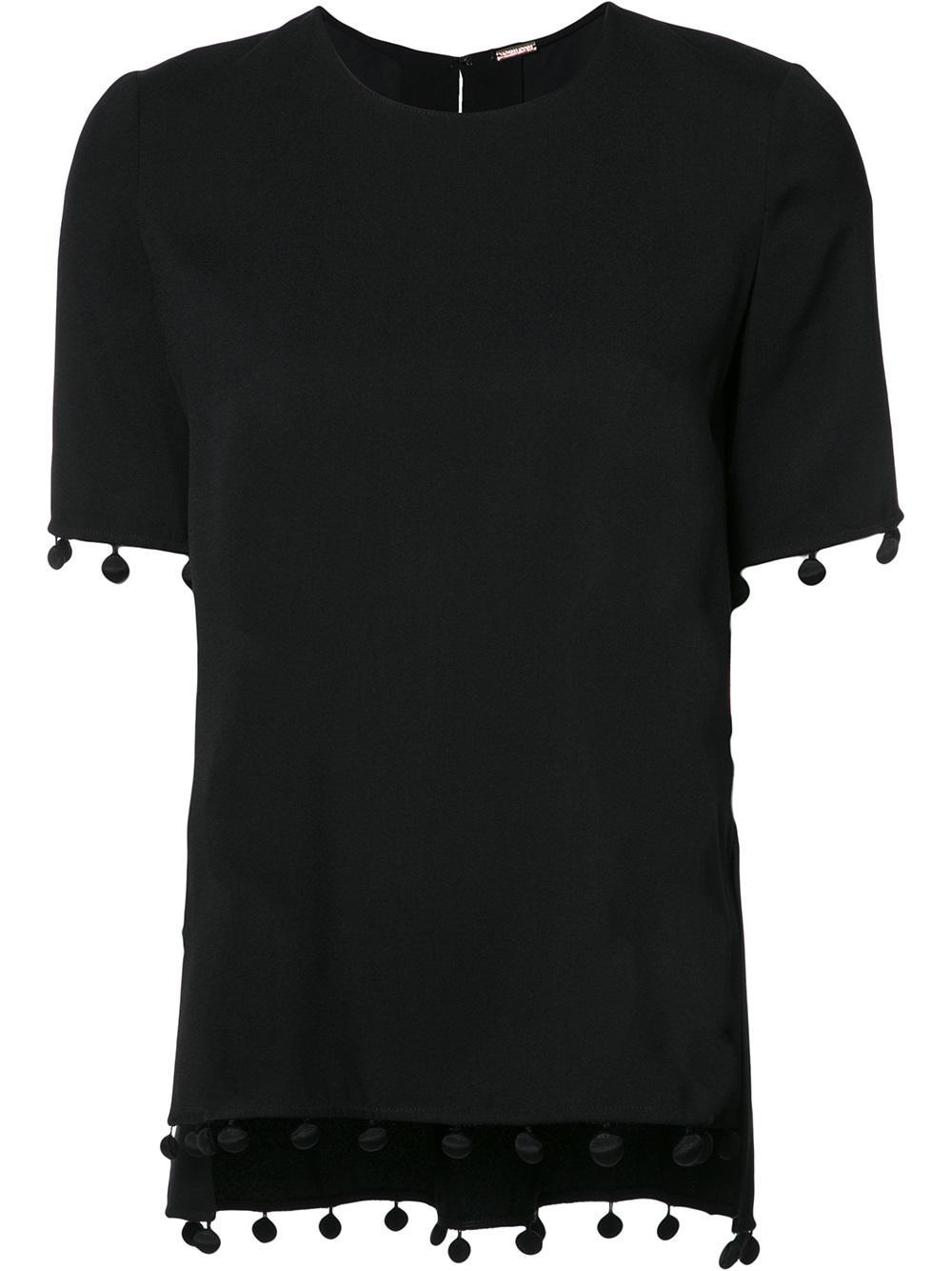 Lyst adam lippes fringed detail t shirt in black for Adam lippes t shirt