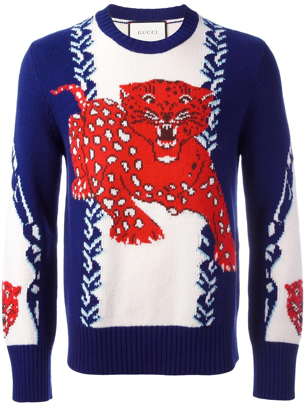 14e4b2dc5 Lyst - Gucci Tiger Chinoiserie Jumper in Blue for Men