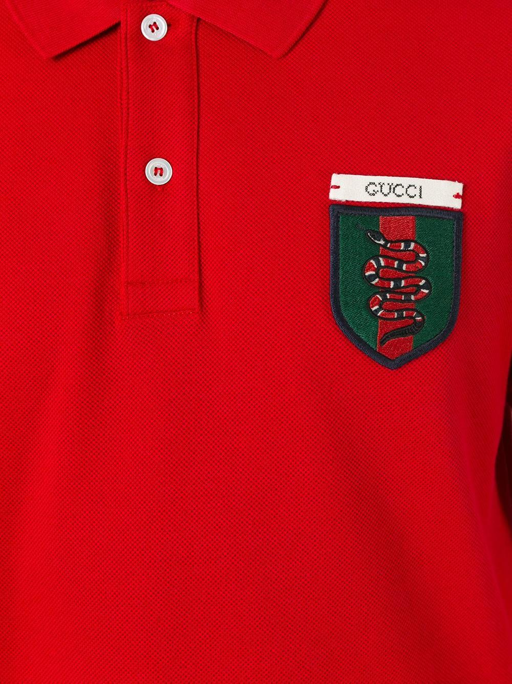 0d884e7e8af1 Gucci Snake Crest Embroidered Polo Shirt in Red for Men - Lyst
