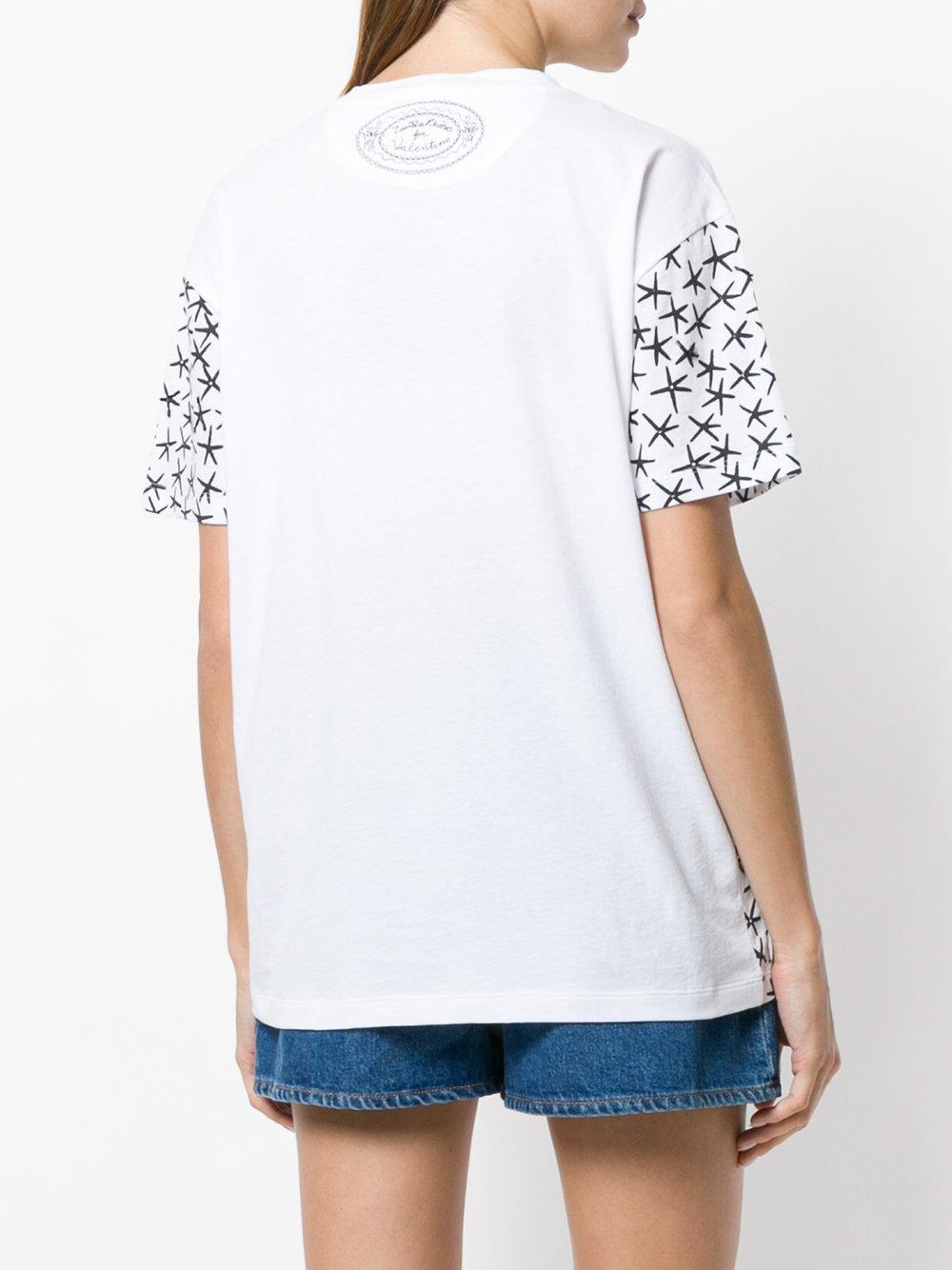 f073ae6c Valentino - White Leopard And Star Print T-shirt - Lyst. View fullscreen