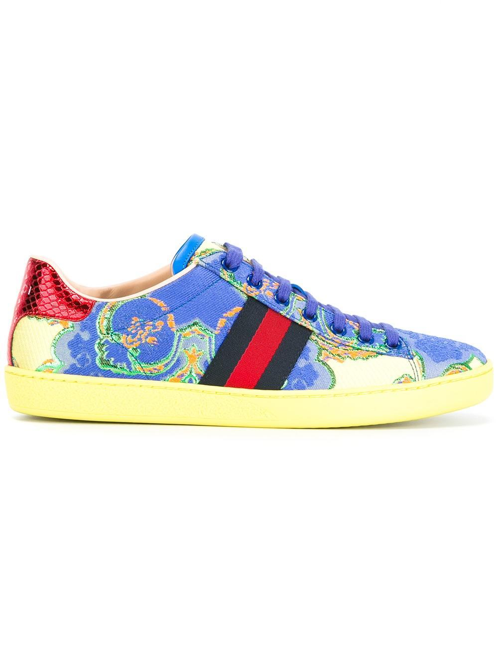 huge discount d776a 9ee1b Lyst - Gucci Low Top Sneaker Ace Jacquard Floral in Blue
