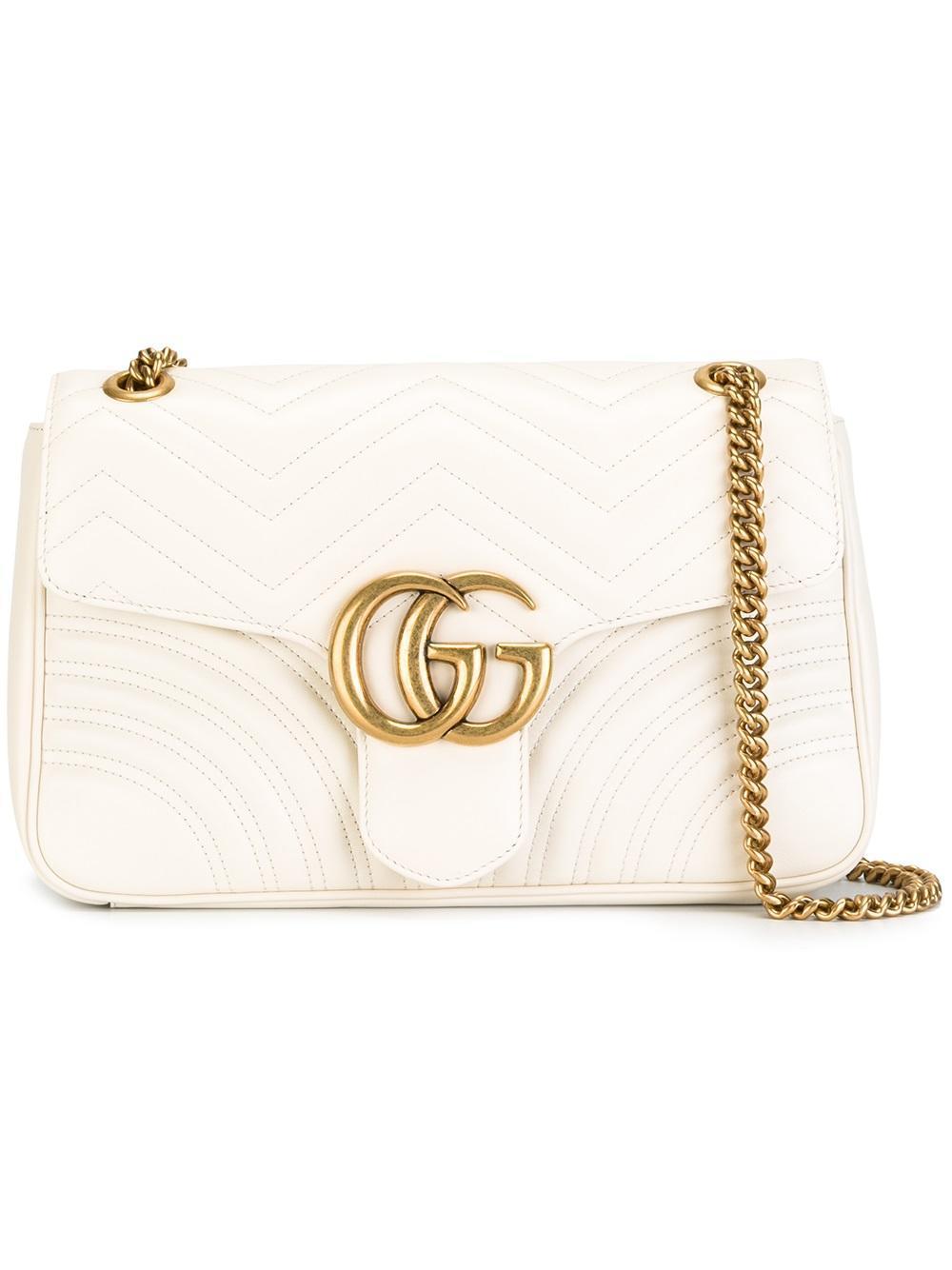 Lyst - Gucci Gg Marmont Matelassé Shoulder Bag in White 8adacdc3bd52e
