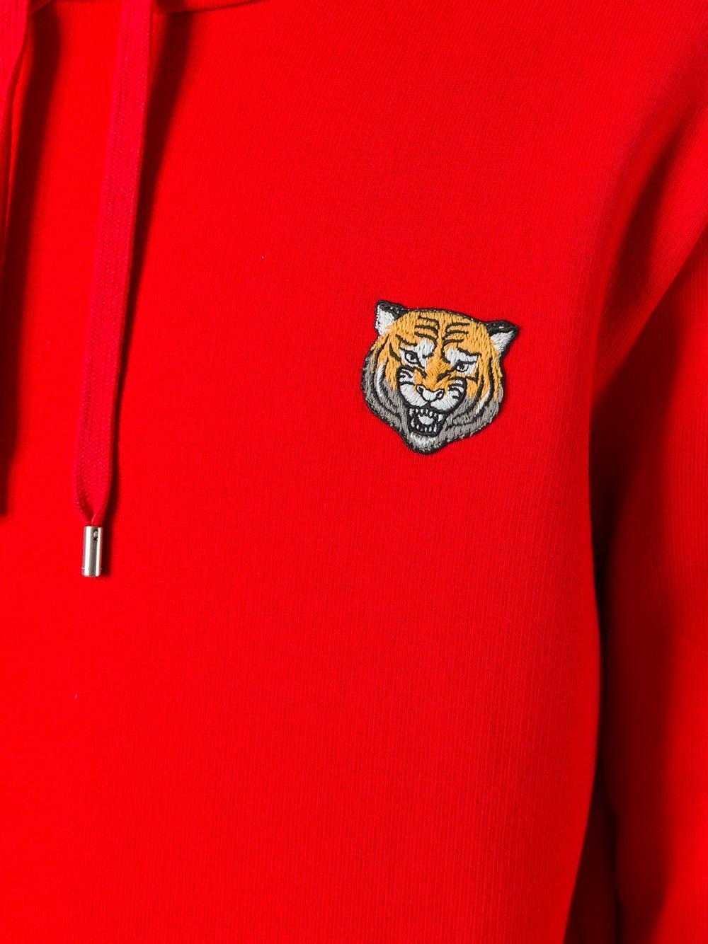 d7e5e9c48dac Gucci Tiger Applique Hoodie in Red for Men - Lyst