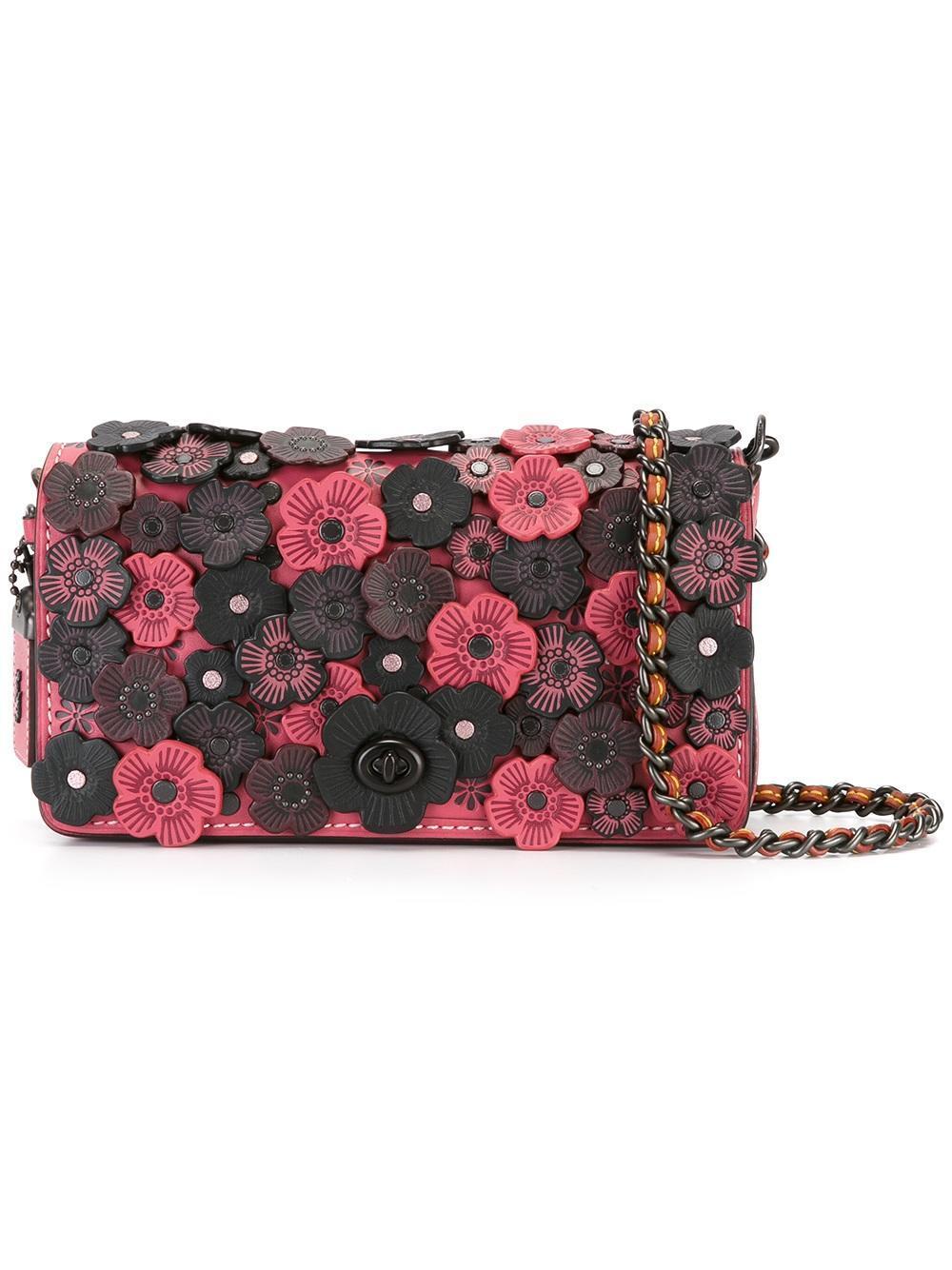 Lyst coach flower embellished crossbody bag in pink gallery mightylinksfo